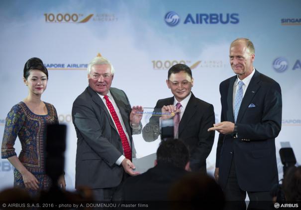 エアバス納入1万機目の記念式典の様子